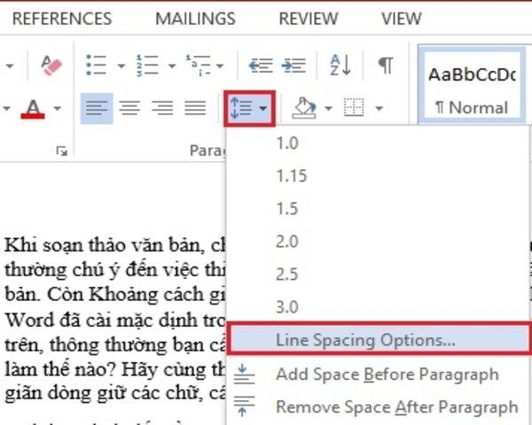 Chọn Line and Paragraph Spacing
