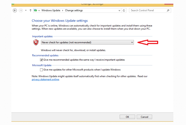 Chọn Never check for update để tắt update Win 8.1