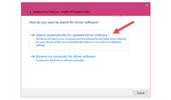 "Chọn ""Search automatically for updated driver software"""